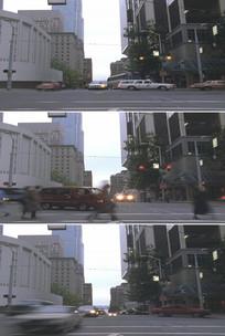 城市街道十字路口红绿灯人行道实拍视频
