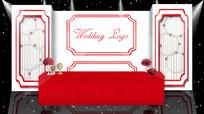 红白色欧式婚礼效果图签到区