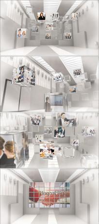 三维玻璃方块企业员工照片墙logo标志展示ae模板