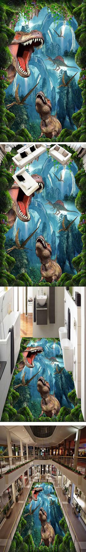 原始恐龙3D立体画街头地画地板