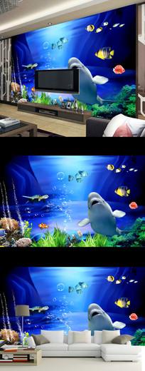浪漫唯美海底世界海龟壁画电视背景墙