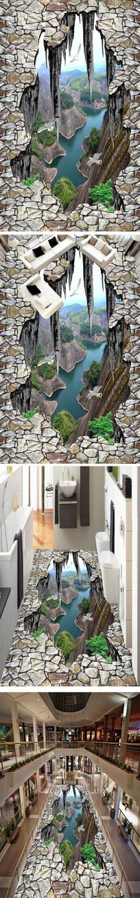 山峰立体浴室厨房3D地板地贴