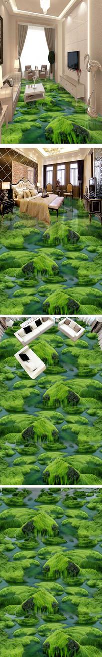 唯美河流石头苔藓浴室3D地板
