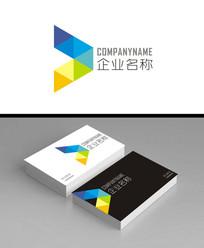 抽象几何飞鸟色块款企业logo标志加名片效果