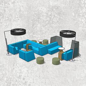 蓝色创意组合沙发