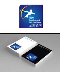 蓝色印章射箭款logo标志加名片效果