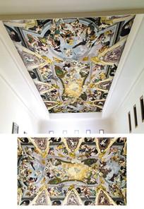 欧式油画风格宫廷天花吊顶背景墙