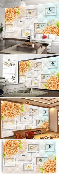 欧式软包彩雕牡丹花客厅电视背景墙图片