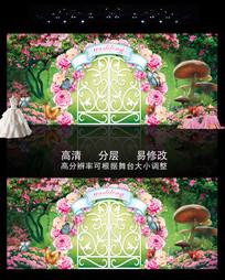 时尚精美森系绿色婚礼主题背景
