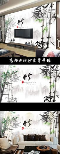 中国风水墨竹子山水壁画电视背景墙