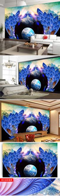 星空孔雀客厅沙发背景墙图片