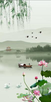 新中式山水玄关背景墙