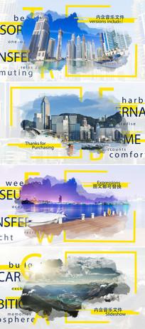中国风水墨效果旅游宣传相册片头模板