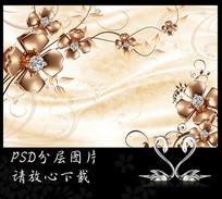 珠宝花纹丝绸客厅电视背景墙