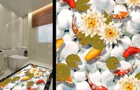 3D地画锦鲤荷花池地贴