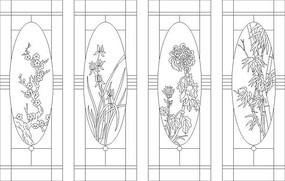 梅蘭竹菊矢量圖