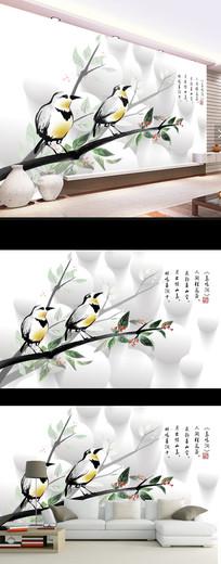 新中式水墨花鸟时尚壁画电视背景墙
