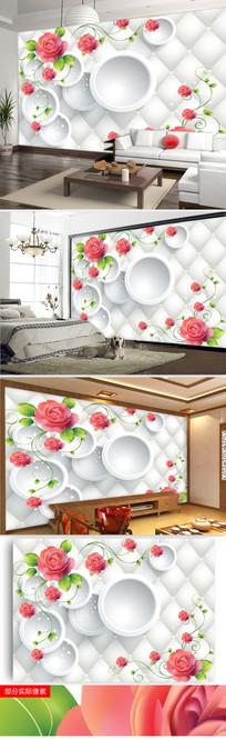3D立体圆圈玫瑰花客厅电视背景墙图片