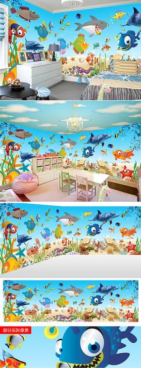 海底世界海底鱼类儿童房客厅电视背景墙图片
