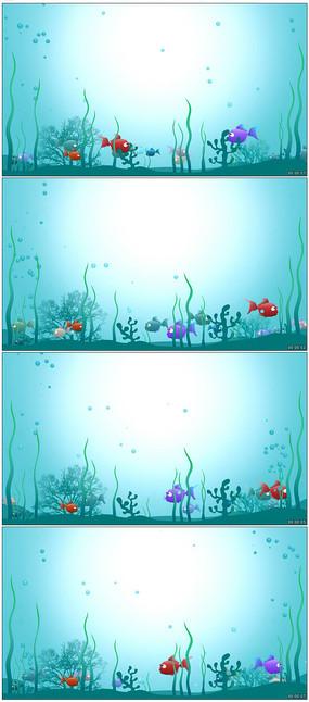 卡通动画水底世界背景视频素材