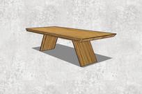 木质斜角桌子