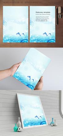 跳跃海豚的海洋水彩信纸