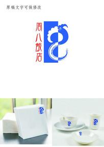 传统纹样字母结合标志LOGO