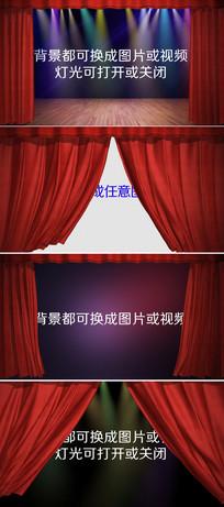 4组舞台幕布帘幕拉开合上视频模板