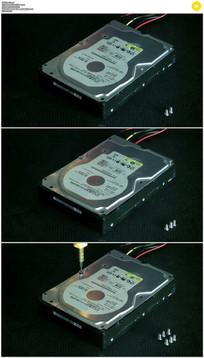 拆卸计算机硬盘实拍视频素材