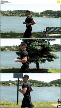健壮的帅哥跑步实拍视频素材