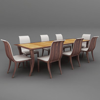 简约欧式实木长餐桌椅子3DMAX模型
