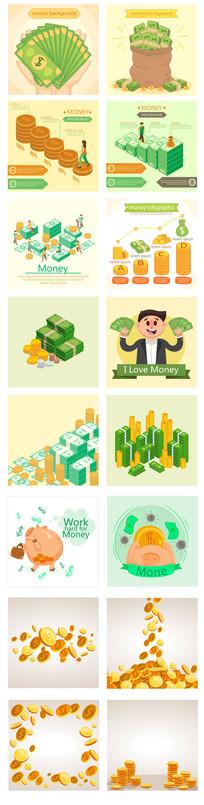扁平化手绘互联网金融公司汇报图形金钱图表