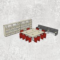 红色方形多人办公桌