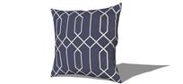 深蓝色线条花纹抱枕模型