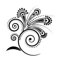 黑色矢量花型设计素材