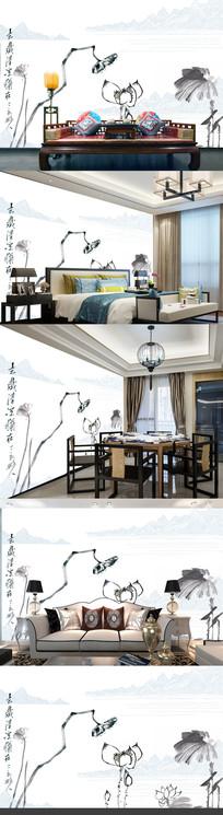 手绘中式禅意荷花背景墙装饰画