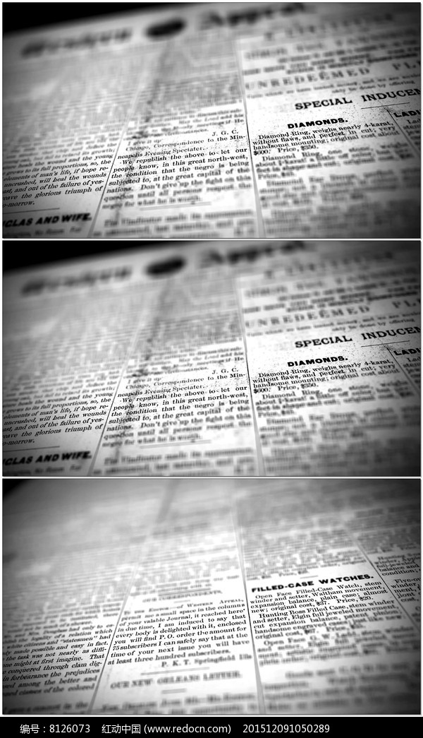 4K旧报纸特写镜头视频图片