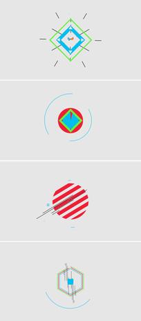 MG扁平化形状动画logo演绎片头模板