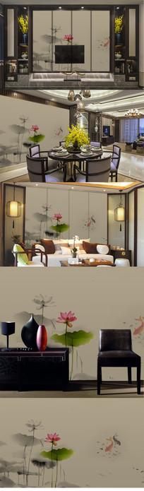 新中式中国风手绘工笔荷花莲花壁画