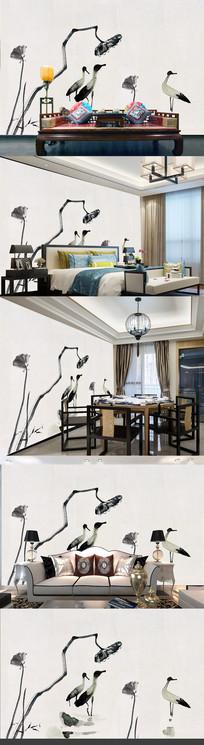 新中式中国风手绘工笔荷花莲花壁画装饰画