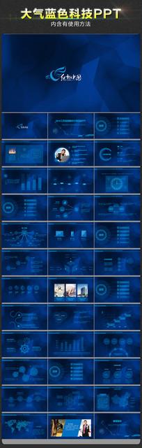 震撼大气蓝色科技企业销售工作总结ppt模板