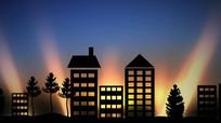 卡通城市剪影LED背景视频
