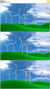 草地上转动的风车动态视频素材