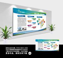 简约蓝色企业文化宣传栏展板模板