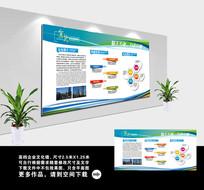 简约蓝色企业文化宣传展板模板