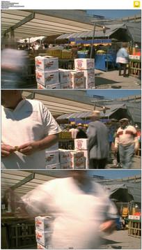 菜市场人流实拍视频素材