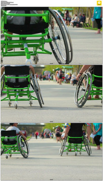 残疾人驾驶轮椅实拍视频素材