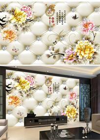 仿软包浮雕花朵电视背景墙壁画