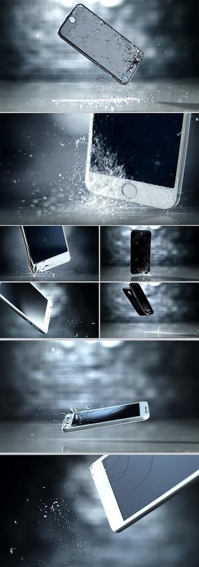 手机屏幕摔碎高速摄影慢镜头视频素材