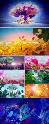 唯美水彩画树林花园蝴蝶飞舞视频